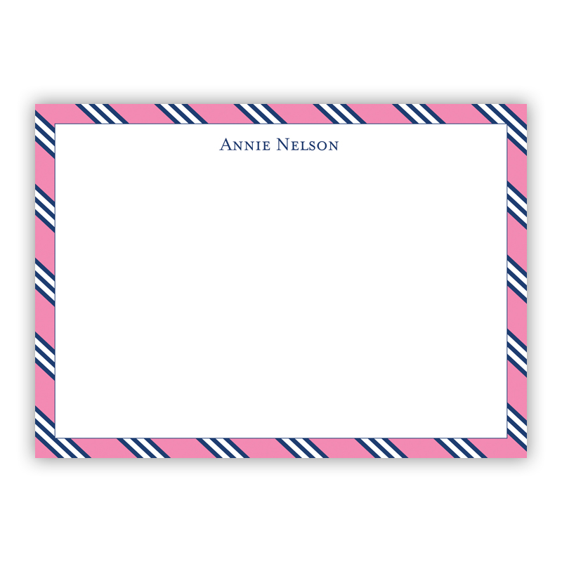 Repp Tie Pink & Navy Flat Stationery, 25 Notecards