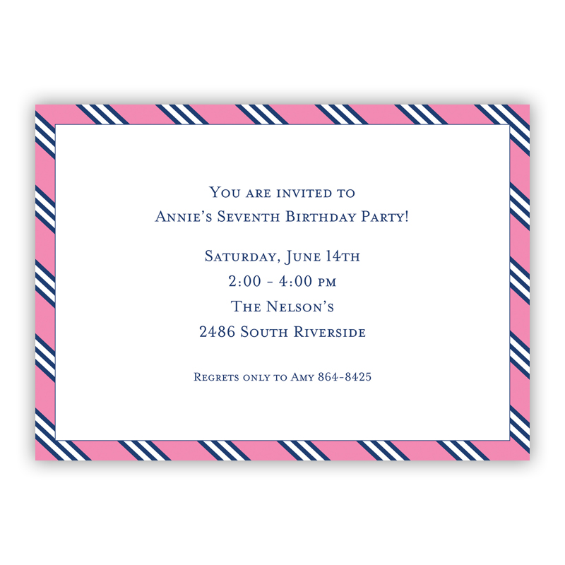 Repp Tie Pink & Navy Invitation or Announcement, sets of 25