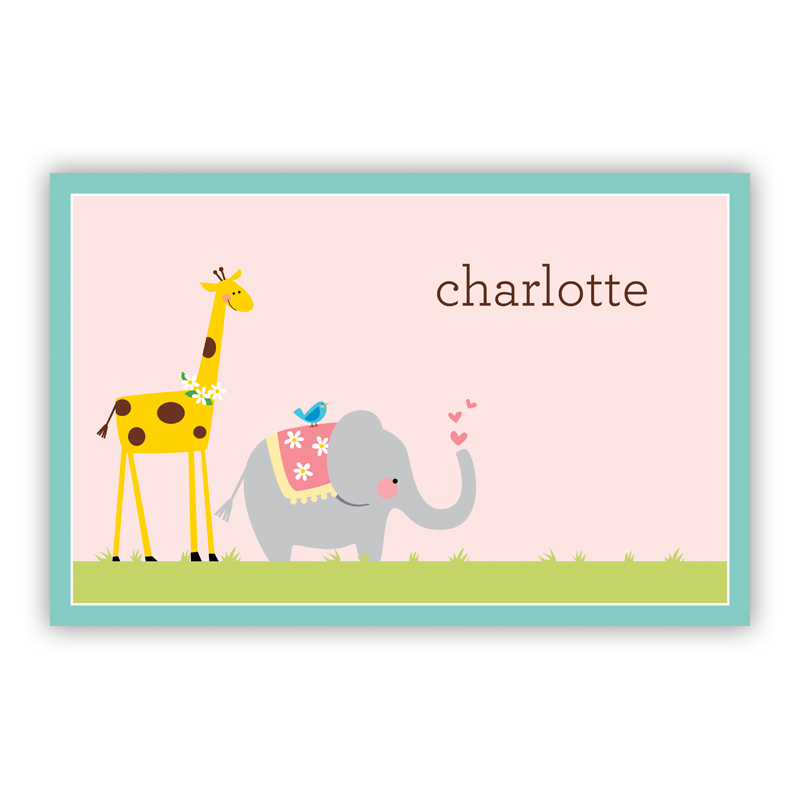 Animal Parade Disposable Personalized Placemat, 25 sheet pad