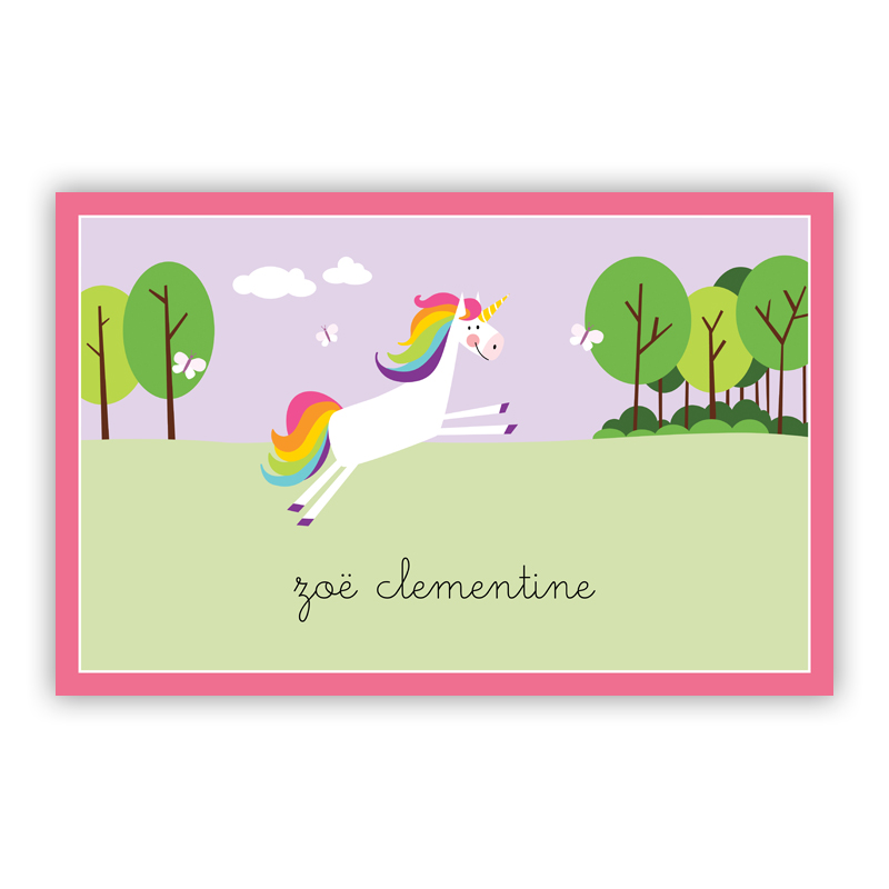 Unicorn Disposable Personalized Placemat, 25 sheet pad