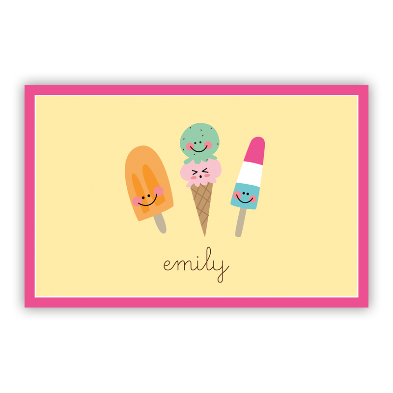 Icy Treats Disposable Personalized Placemat, 25 sheet pad