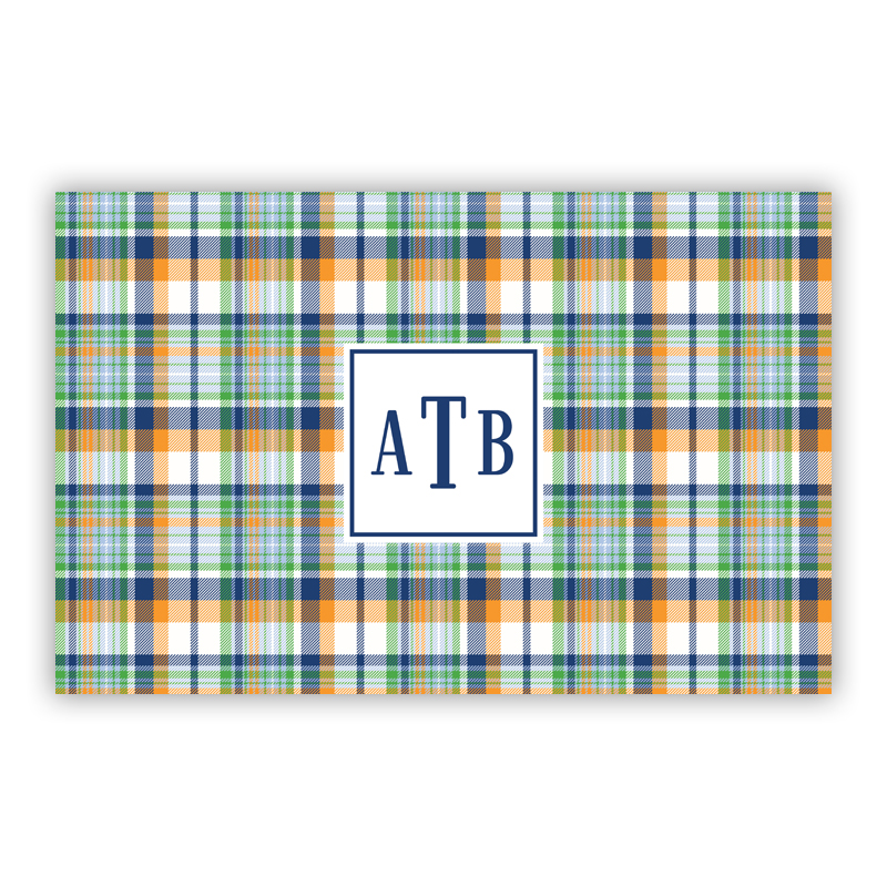 Classic Madras Plaid Navy & Orange Disposable Personalized Placemat, 25 sheet pad