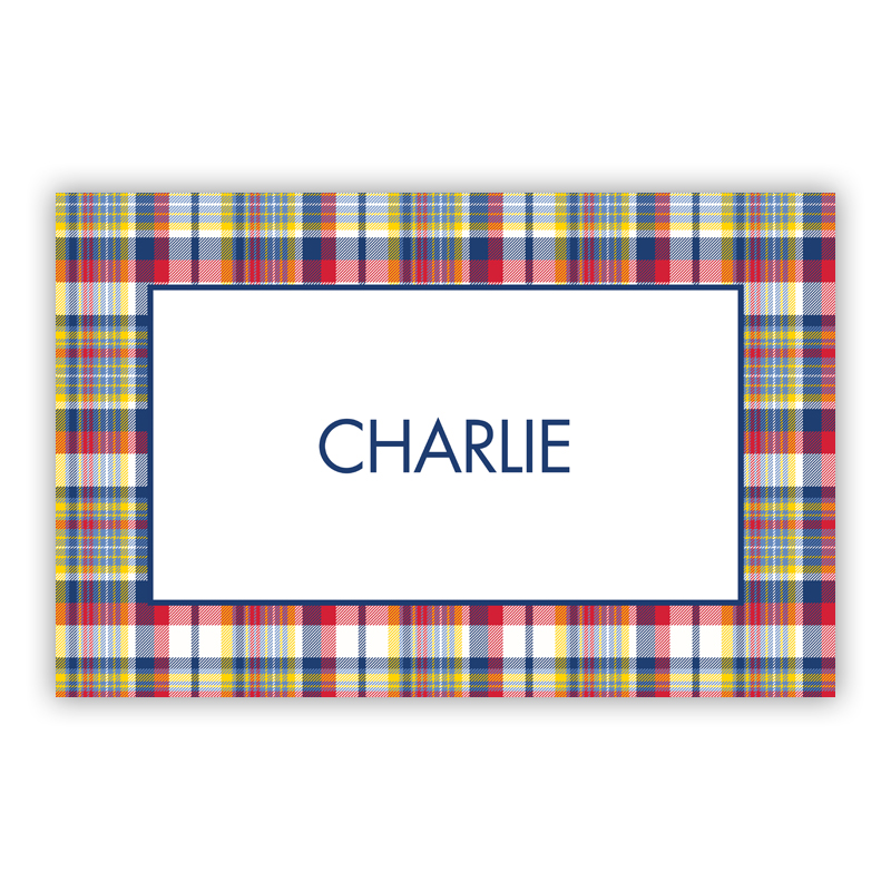Classic Madras Plaid Navy & Red Disposable Personalized Placemat, 25 sheet pad