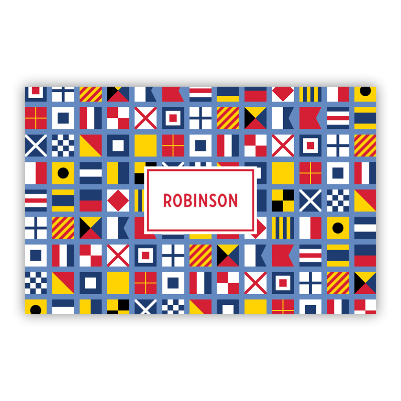 Nautical Flags Disposable Personalized Placemat, 25 sheet pad