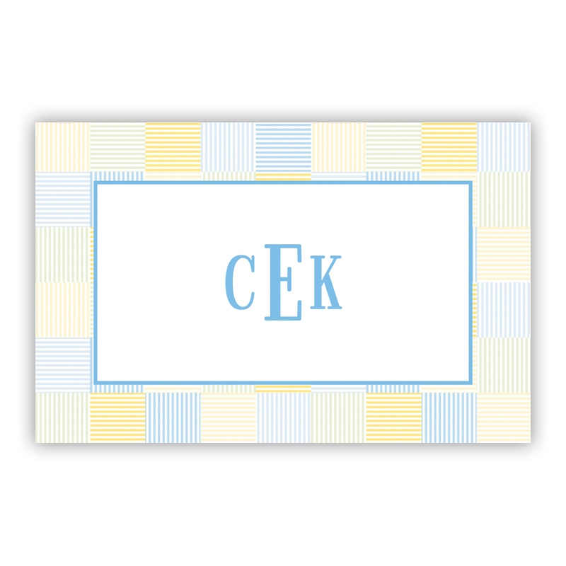 Seersucker Patch Light Blue Disposable Personalized Placemat, 25 sheet pad