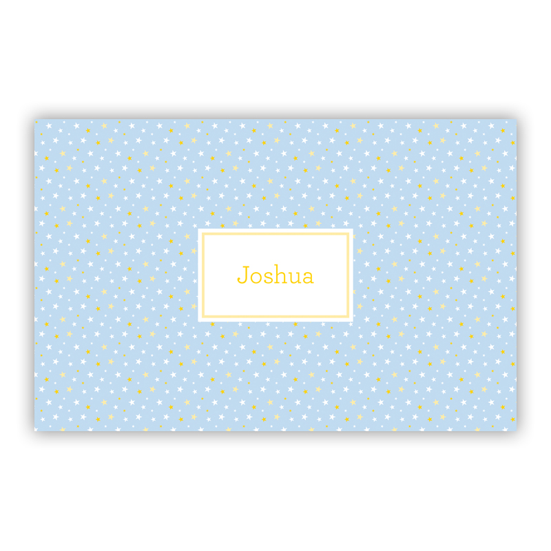 Twinkle Star Light Blue Disposable Personalized Placemat, 25 sheet pad
