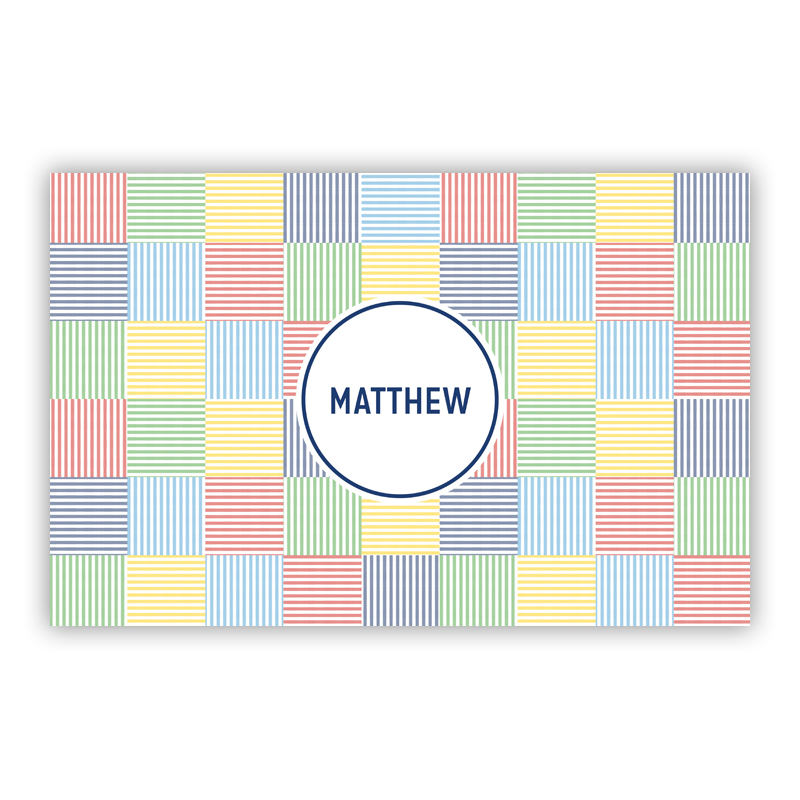 Seersucker Patch Blue Disposable Personalized Placemat, 25 sheet pad