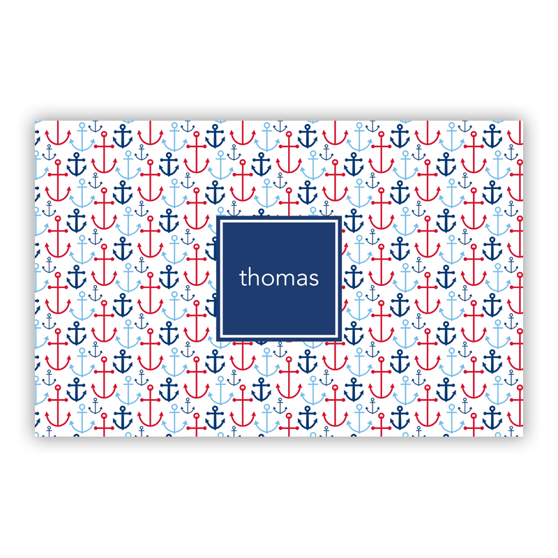 Happy Anchor Blue Personalized Laminated Placemat