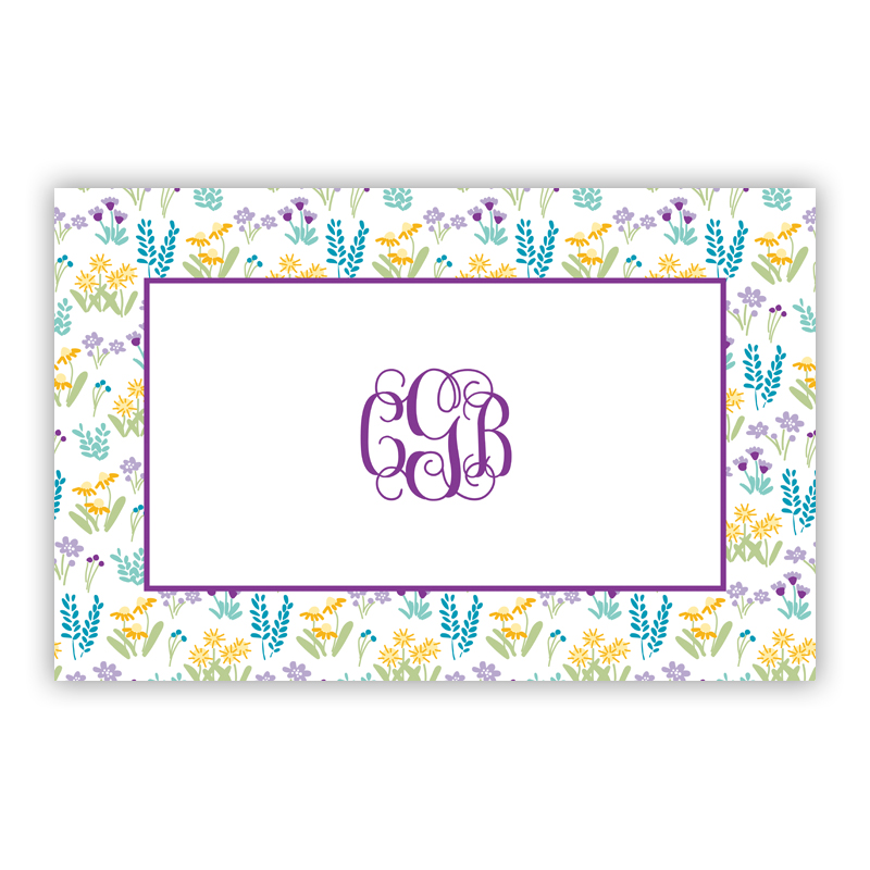 Flower Fields Purple Disposable Personalized Placemat, 25 sheet pad