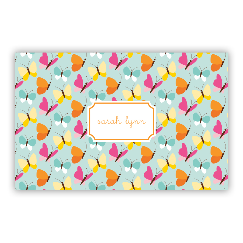 Flutter Teal Disposable Personalized Placemat, 25 sheet pad