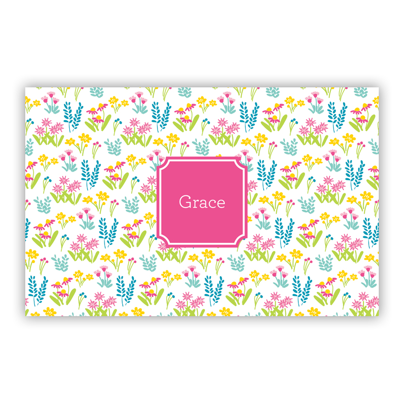 Flower Fields Pink Disposable Personalized Placemat, 25 sheet pad