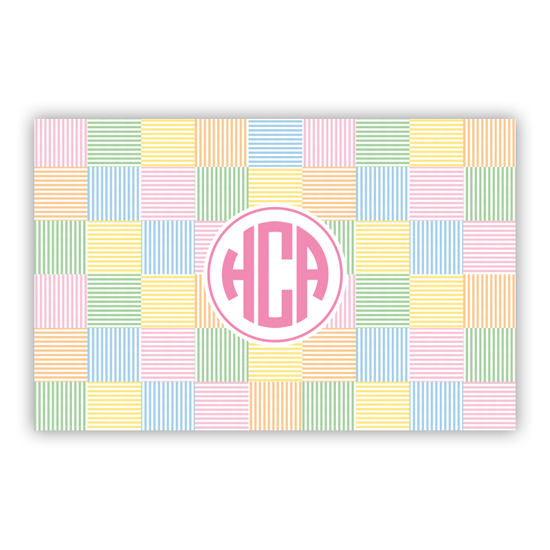 Seersucker Patch Pink Disposable Personalized Placemat, 25 sheet pad
