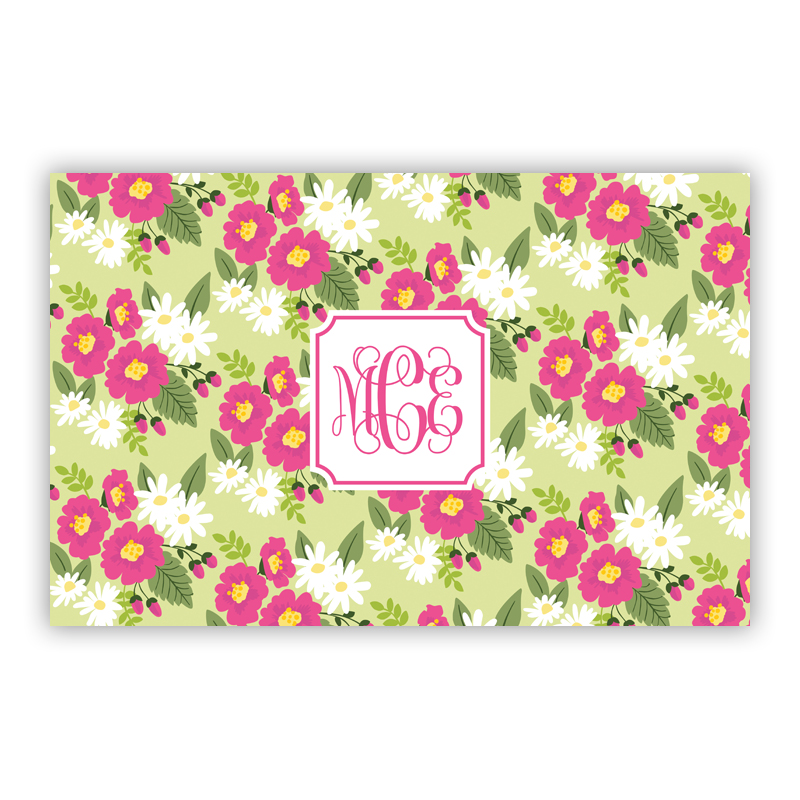 Lillian Floral Bright Disposable Personalized Placemat, 25 sheet pad