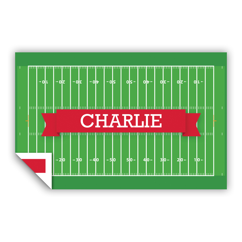 Football Field with Pink or Red Banner Personalized Laminated Placemat