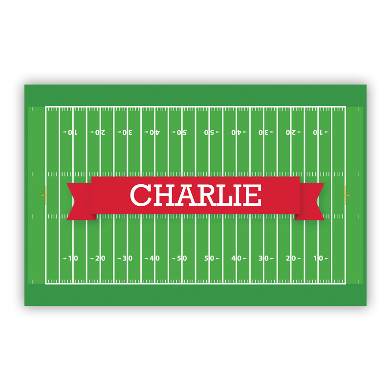 Football Field with Pink or Red Banner Disposable Personalized Placemat, 25 sheet pad