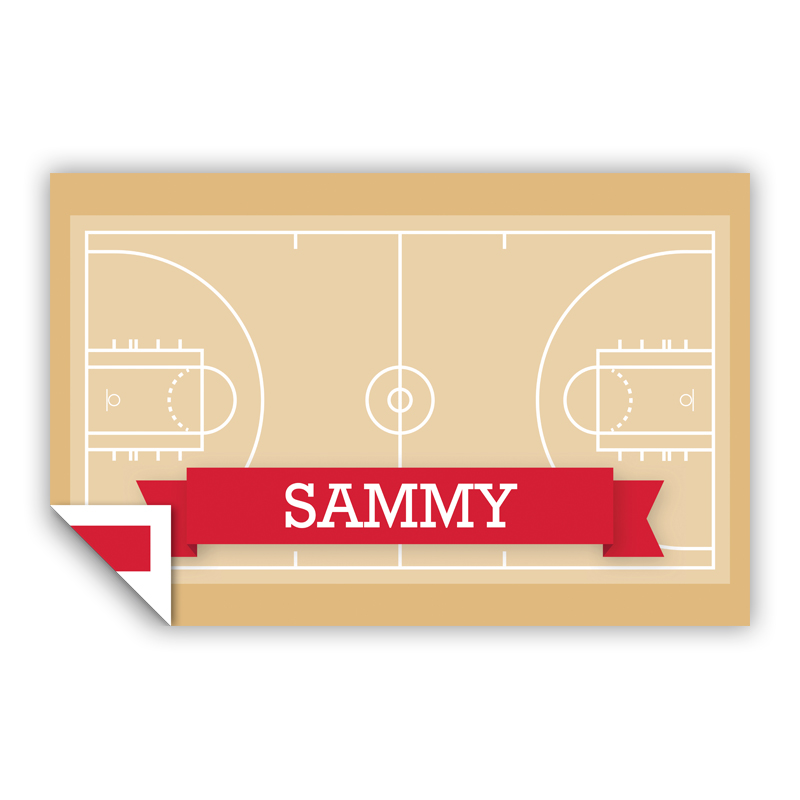 Basketball Court with Pink or Red Banner Personalized Laminated Placemat