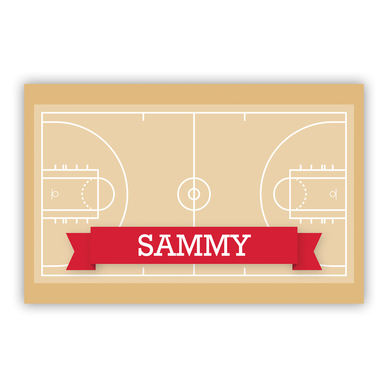 Basketball Court with Pink or Red Banner Disposable Personalized Placemat, 25 sheet pad