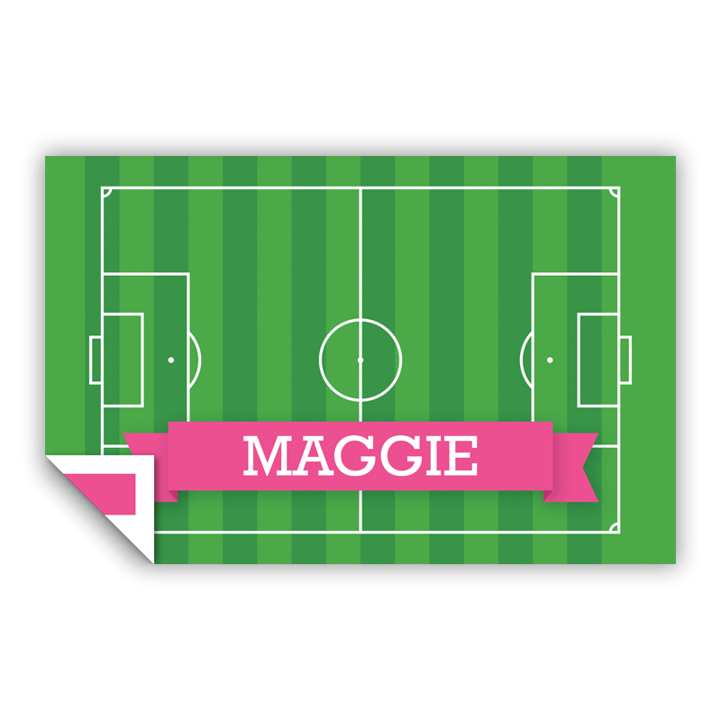Soccer Field with Pink or Red Banner Personalized Laminated Placemat