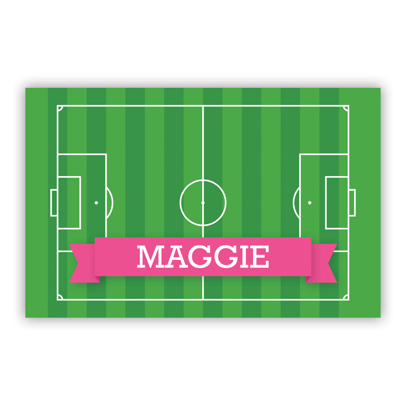 Soccer Field with Pink or Red Banner Disposable Personalized Placemat, 25 sheet pad