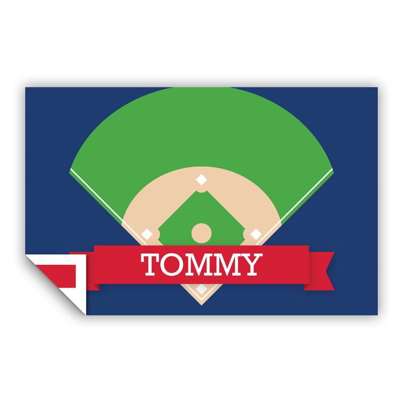 Baseball Diamond with Pink or Red Banner Personalized Laminated Placemat
