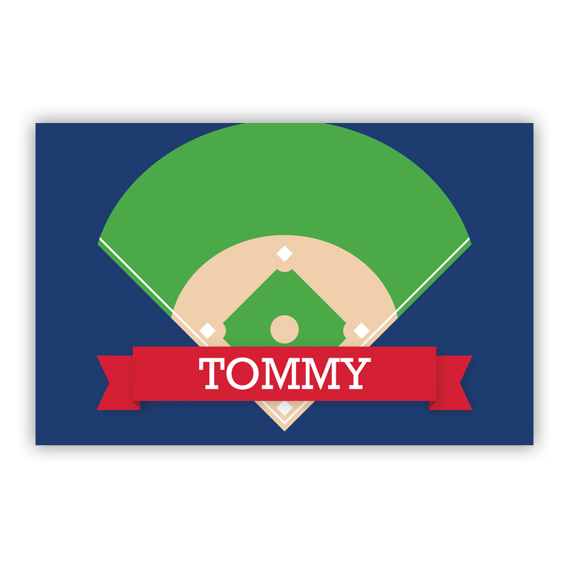 Baseball Diamond with Pink or Red Banner Disposable Personalized Placemat, 25 sheet pad
