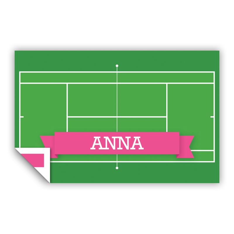 Tennis Court with Pink or Red Banner Personalized Laminated Placemat