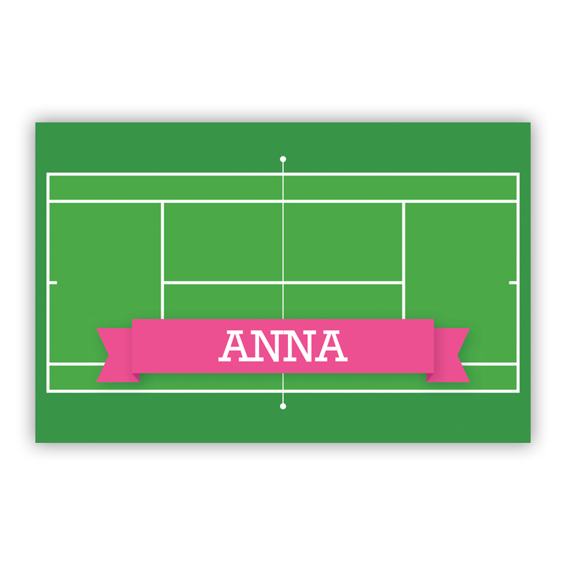 Tennis Court with Pink or Red Banner Disposable Personalized Placemat, 25 sheet pad