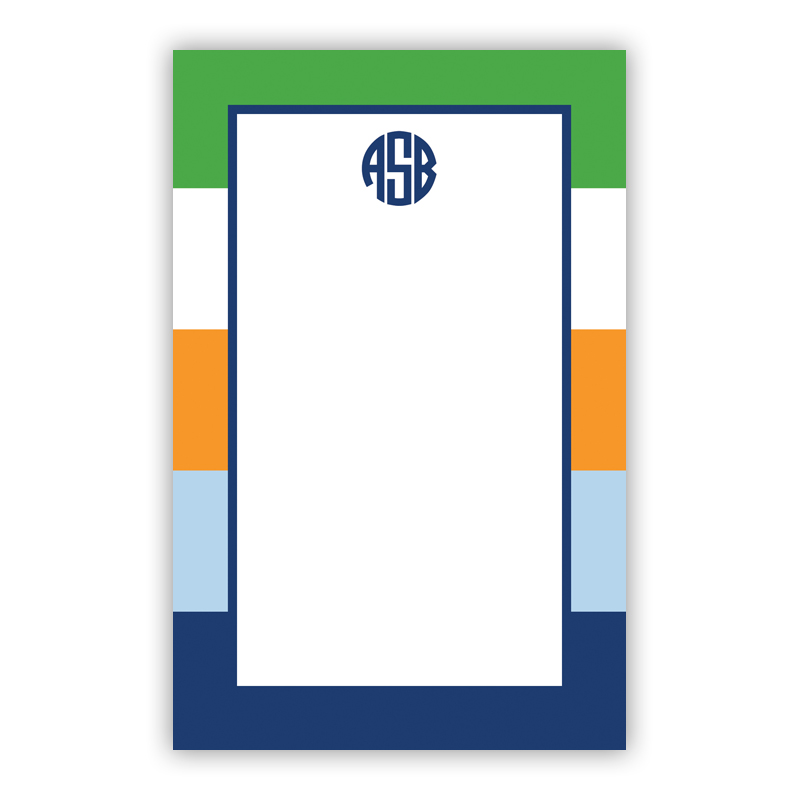 Personalized Bold Stripe Navy Orange & Kelly Notepad (100 sheets)