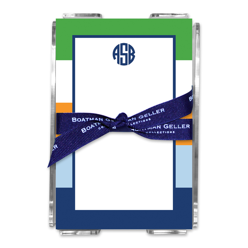 Personalized Bold Stripe Navy Orange & Kelly Note Sheets in Acrylic Holder