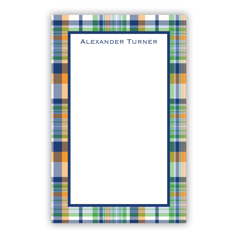 Personalized Classic Madras Plaid Navy & Orange Notepad (100 sheets)
