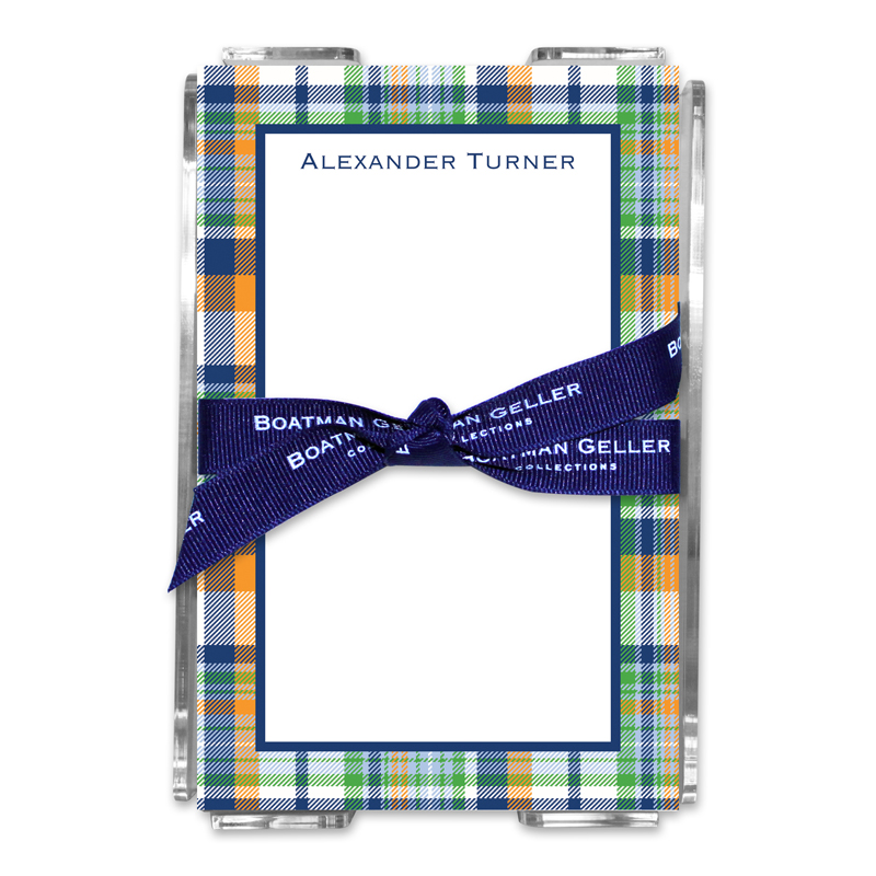 Personalized Classic Madras Plaid Navy & Orange Note Sheets in Acrylic Holder
