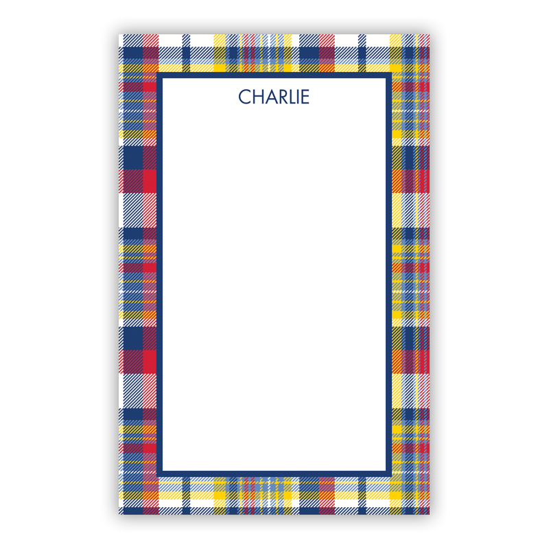 Personalized Classic Madras Plaid Navy & Red Notepad (100 sheets)