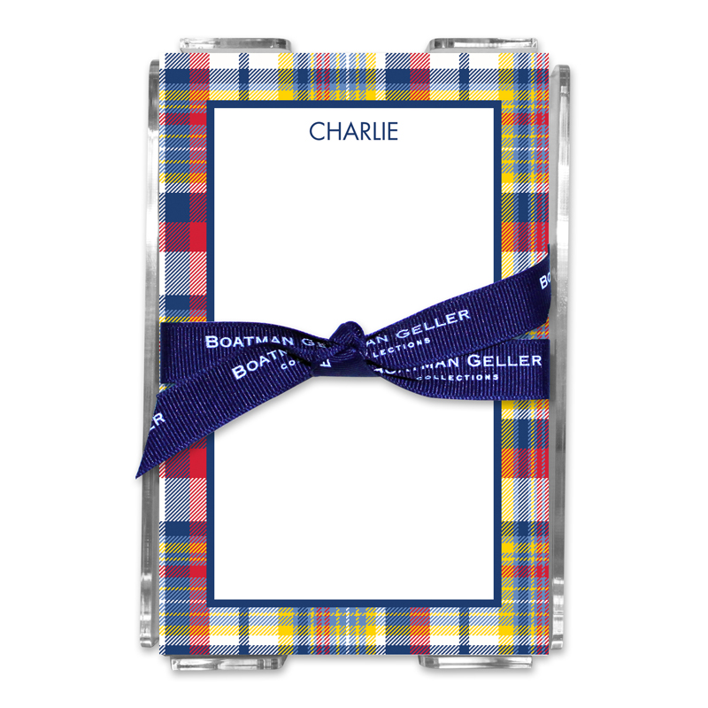 Personalized Classic Madras Plaid Navy & Red Note Sheets in Acrylic Holder
