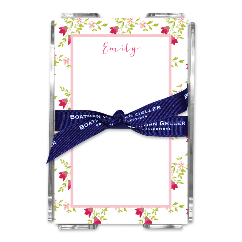 Personalized Camryn Floral Note Sheets in Acrylic Holder