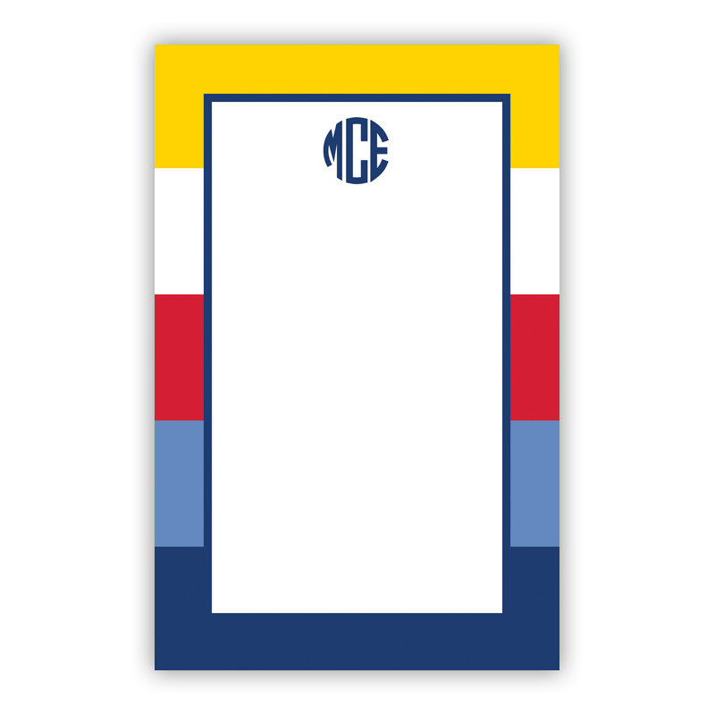 Personalized Bold Stripe Nautical Notepad (100 sheets)