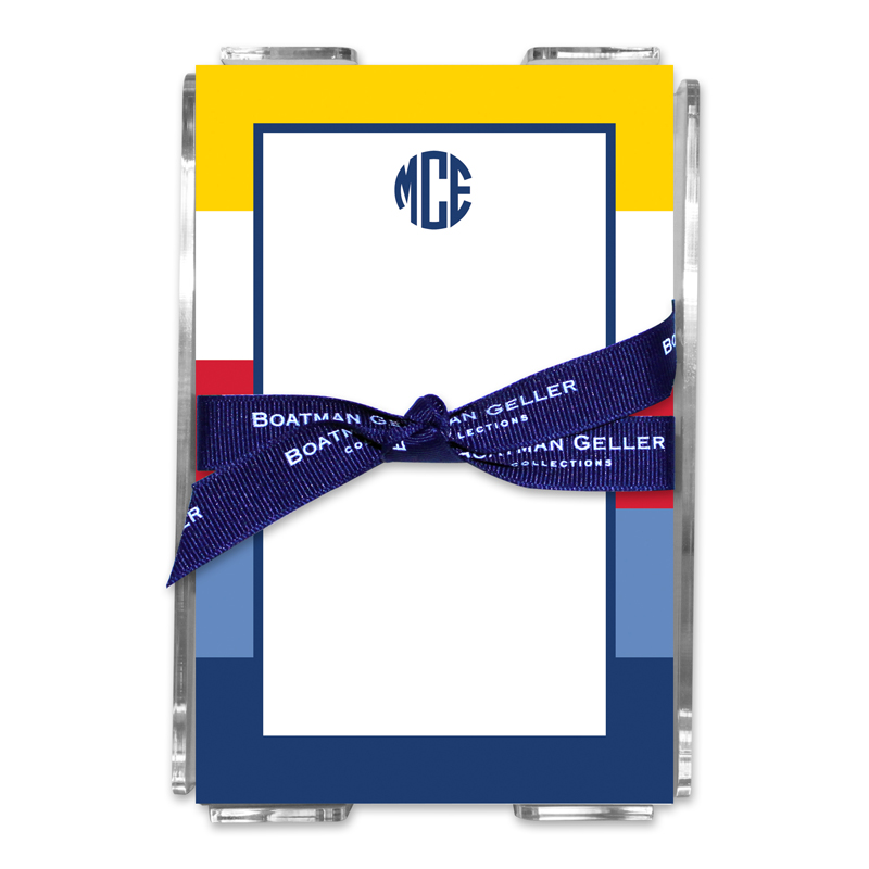 Personalized Bold Stripe Nautical Note Sheets in Acrylic Holder