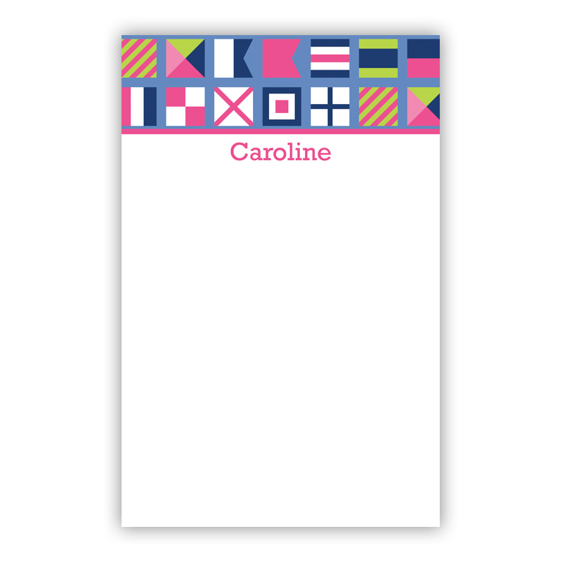 Personalized Nautical Flags Pink Notepad (100 sheets)
