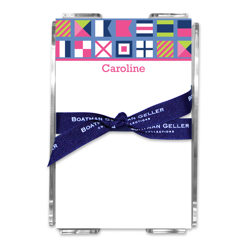 Personalized Nautical Flags Pink Note Sheets in Acrylic Holder