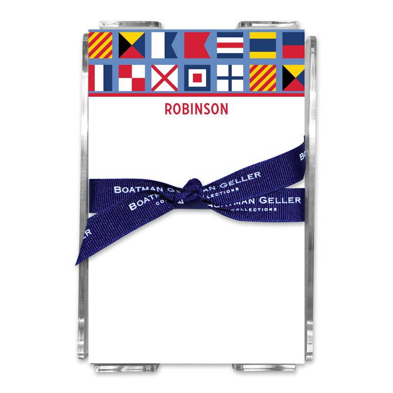 Personalized Nautical Flags Note Sheets in Acrylic Holder