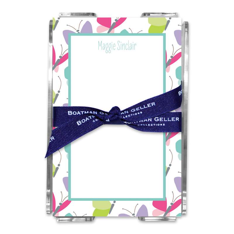 Personalized Flutter Note Sheets in Acrylic Holder