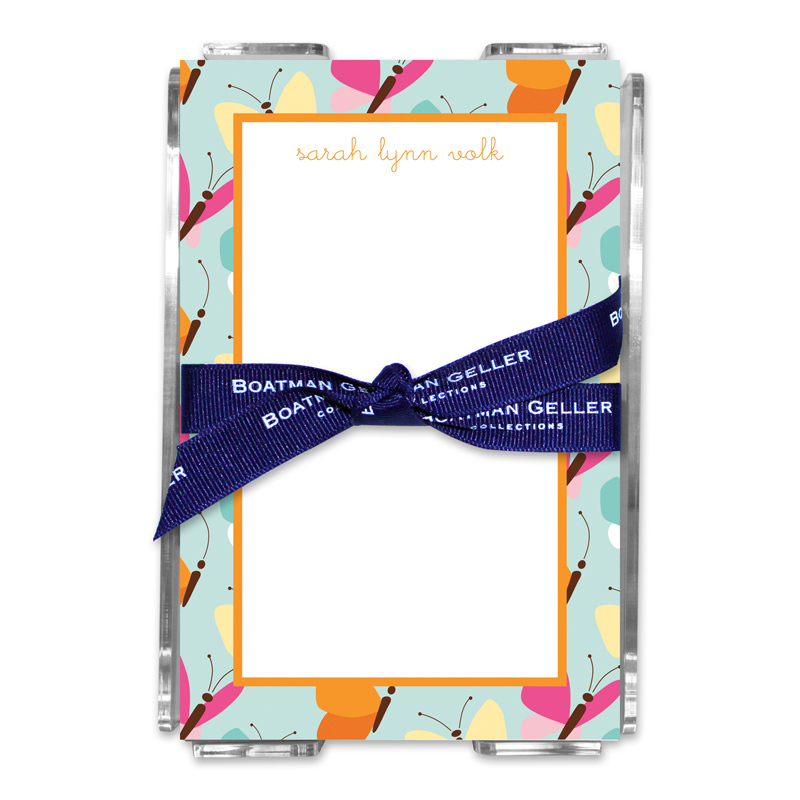 Personalized Flutter Teal Note Sheets in Acrylic Holder