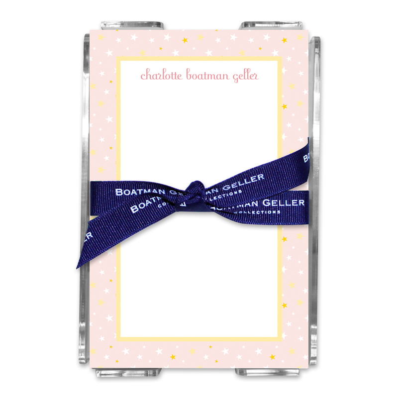 Personalized Twinkle Star Light Pink Note Sheets in Acrylic Holder
