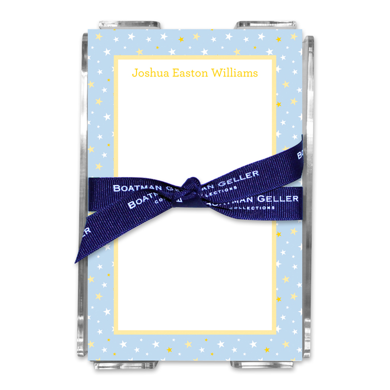 Personalized Twinkle Star Light Blue Note Sheets in Acrylic Holder