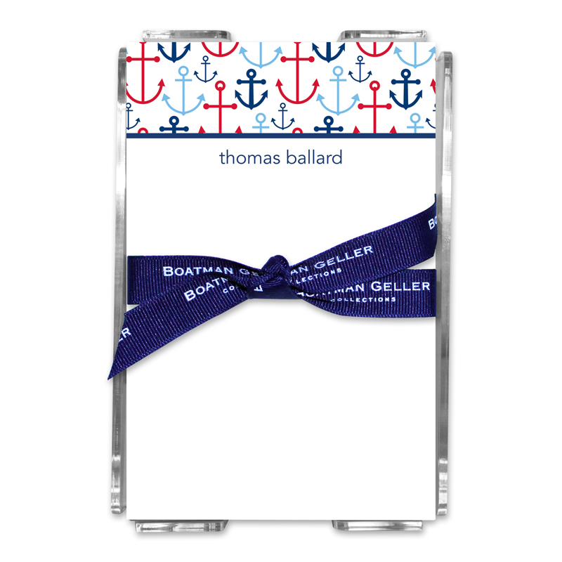 Personalized Happy Anchor Blue Note Sheets in Acrylic Holder
