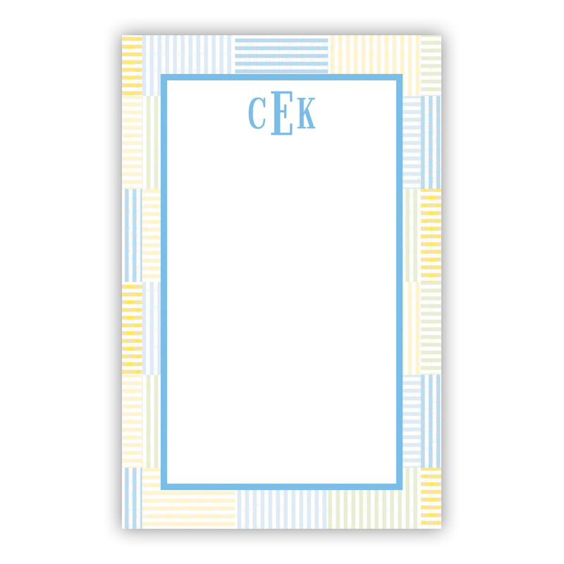 Seersucker Patch Light Blue 150 Refill Note Sheets, Personalized