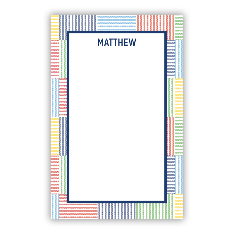 Seersucker Patch Blue 150 Refill Note Sheets, Personalized