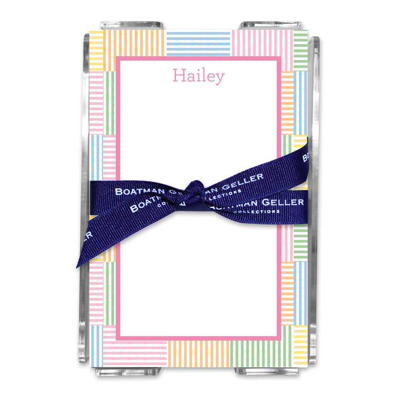 Personalized Seersucker Patch Pink Note Sheets in Acrylic Holder