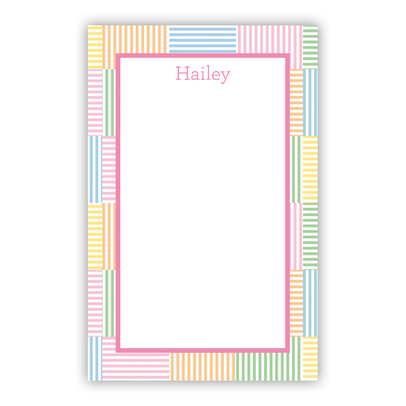 Seersucker Patch Pink 150 Refill Note Sheets, Personalized