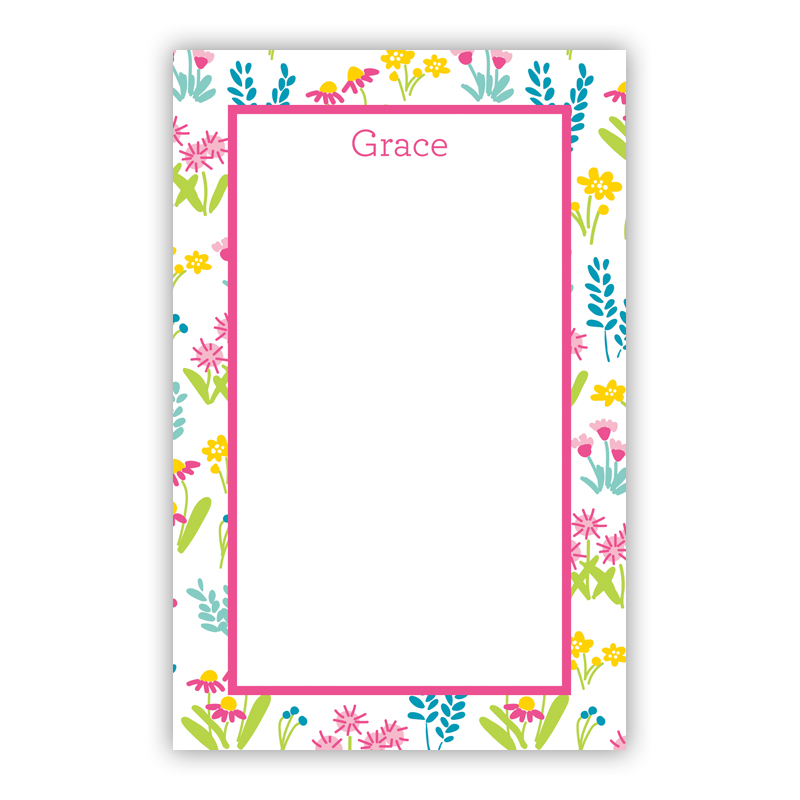 Personalized Flower Fields Pink Notepad (100 sheets)