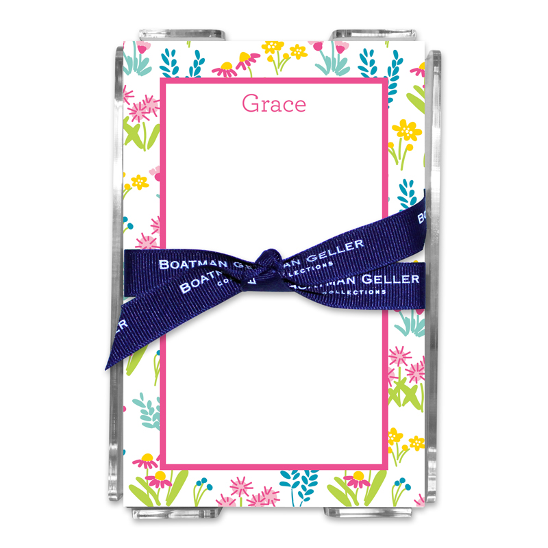 Personalized Flower Fields Pink Note Sheets in Acrylic Holder